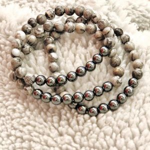 empress mala designs Jewelry - Mala Bracelet Hematite with Jasper. Boho Jewelry